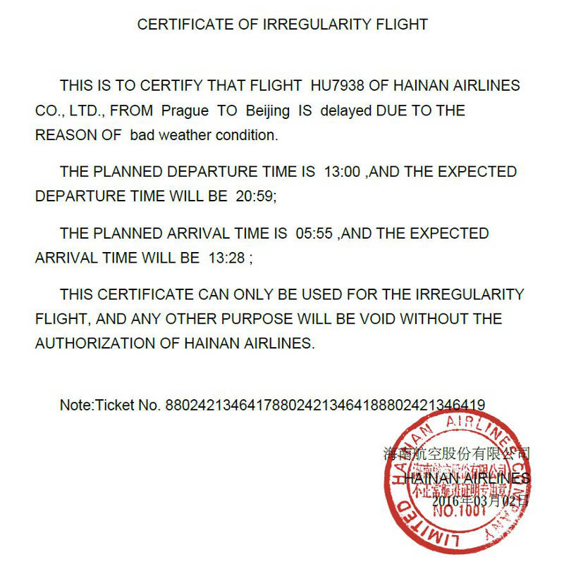 Certificate of flight irregularity